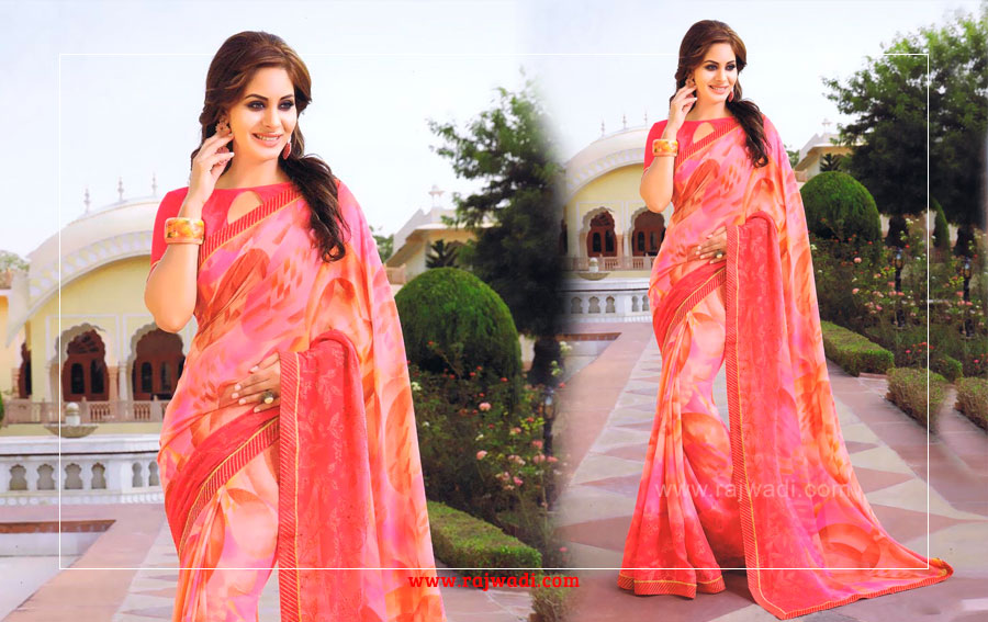 Pink_color_printed_chiffon_saree