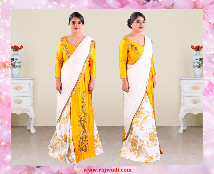 Lehenga_saree_cream_yellow
