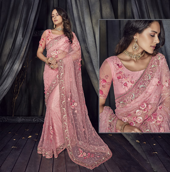 embroidered-pink-net-saree
