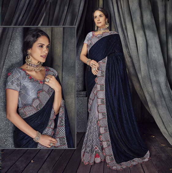 Grey-Blue-net-saree