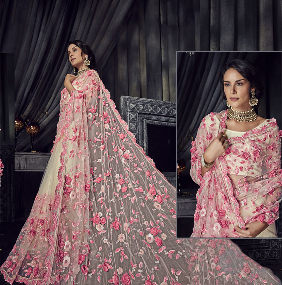 Pink-rose-embroidery-net-saree