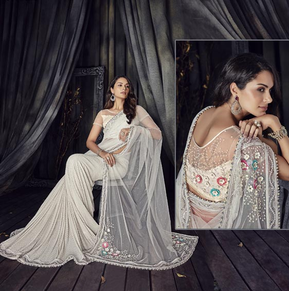 White-Net-saree