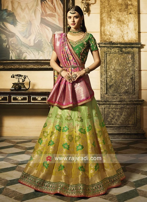 Single dupatta draped like a saree with waist belt